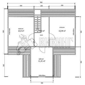 Деревянный дом 9x9 Гамма-41 (План мансарды)