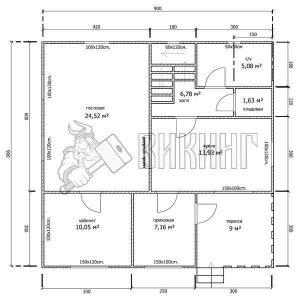 Деревянный дом 9x9 Гамма-43 (План 1-го этажа)
