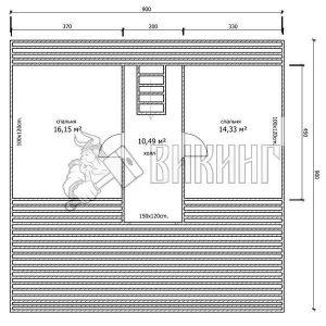 Деревянный дом 9x9 Гамма-43 (План мансарды)