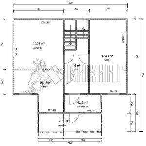 Деревянный дом 9x9 Гамма-44 (План 1-го этажа)