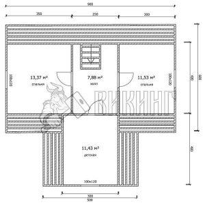 Деревянный дом 9x9 Гамма-44 (План мансарды)