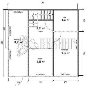 Деревянный дом 6x7 Альфа-2 (План 1-го этажа)