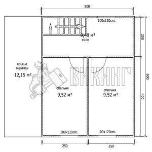 Деревянный дом 6x7 Альфа-2 (План 2-го этажа)