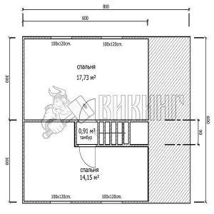 Деревянный дом 6x8 Альфа-5 (План 2-го этажа)