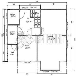 Деревянный дом 6x9 Альфа-6 (План 1-го этажа)