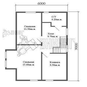 Деревянный дом 6x9 Альфа-6 (План 2-го этажа)