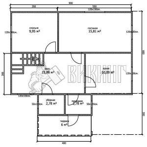 Деревянный дом 6x9 Альфа-7 (План 1-го этажа)