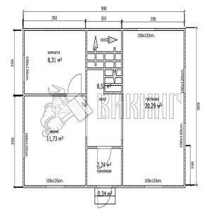 Деревянный дом 6x9 Альфа-8 (План 1-го этажа)
