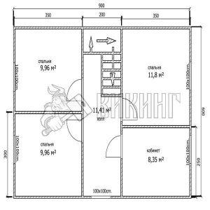 Деревянный дом 6x9 Альфа-8 (План 2-го этажа)