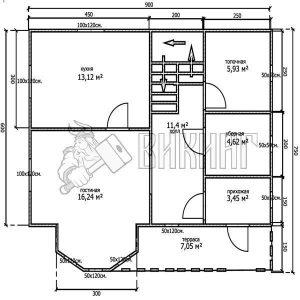 Деревянный дом 7,5x9 Альфа-9 (План 1-го этажа)