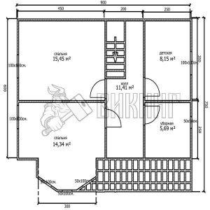 Деревянный дом 7,5x9 Альфа-9 (План 2-го этажа)