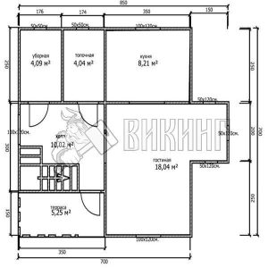 Деревянный дом 7x7 Альфа-10 (План 1-го этажа)