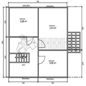 Деревянный дом 7x7 Альфа-10 (План 2-го этажа)