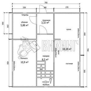 Деревянный дом 7x7 Альфа-34 (План 1-го этажа)