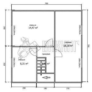 Деревянный дом 7x7 Альфа-34 (План 2-го этажа)