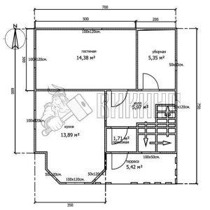 Деревянный дом 7x7,5 Альфа-11 (План 1-го этажа)
