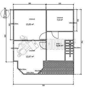 Деревянный дом 7x7,5 Альфа-11 (План 2-го этажа)