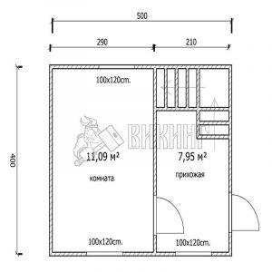 Деревянный дом 4x5 Гамма-2 (план 1-го этажа)