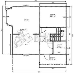 Деревянный дом 7x8 Альфа-12 (План 1-го этажа)