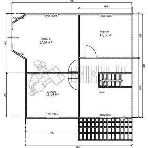 Деревянный дом 7x8 Альфа-12 (План 2-го этажа)