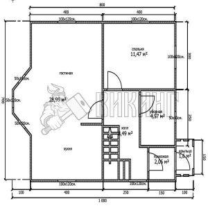 Деревянный дом 7x8 Альфа-13 (План 1-го этажа)