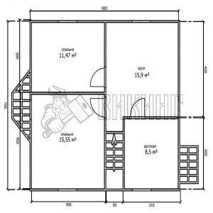 Деревянный дом 7x8 Альфа-13 (План 2-го этажа)