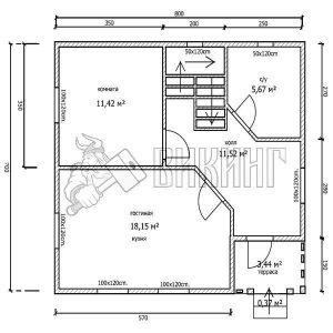 Деревянный дом 7x8 Альфа-36 (План 1-го этажа)
