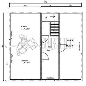 Деревянный дом 7x8 Альфа-36 (План 2-го этажа)