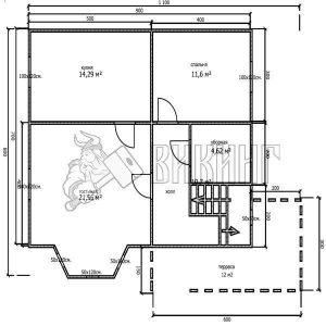 Деревянный дом 7x9 Альфа-15 (План 1-го этажа)
