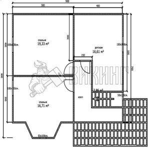 Деревянный дом 7x9 Альфа-15 (План 2-го этажа)