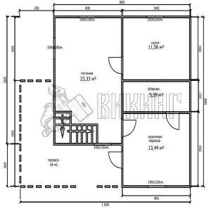 Деревянный дом 8x8 Альфа-17 (План 1-го этажа)