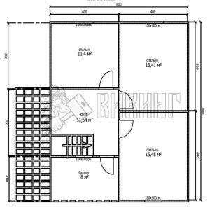 Деревянный дом 8x8 Альфа-17 (План 2-го этажа)