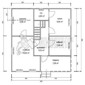 Деревянный дом 8x8 Альфа-18 (План 1-го этажа)
