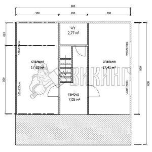 Деревянный дом 8x8 Альфа-18 (План 2-го этажа)