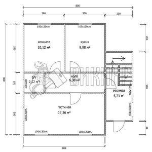Деревянный дом 8x8 Альфа-19 (План 1-го этажа)
