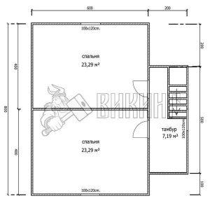 Деревянный дом 8x8 Альфа-19 (План 2-го этажа)