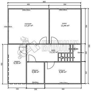 Деревянный дом 8x8,5 Альфа-20 (План 1-го этажа)
