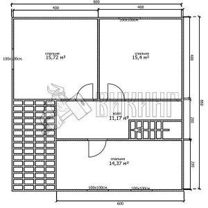 Деревянный дом 8x8,5 Альфа-20 (План 2-го этажа)