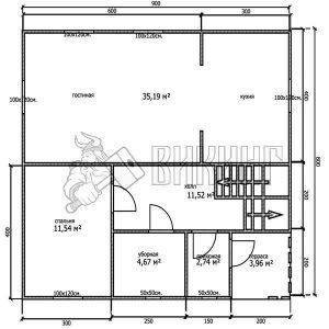 Деревянный дом 8x9 Альфа-21 (План 1-го этажа)
