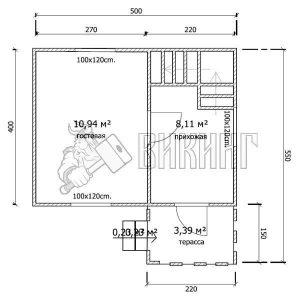 Деревянный дом 4x5 Гамма-3 (план 1-го этажа)