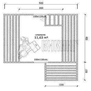 Деревянный дом 4x5 Гамма-3 (план мансарды)