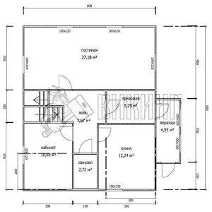 Деревянный дом 8x9 Альфа-22 (План 1-го этажа)