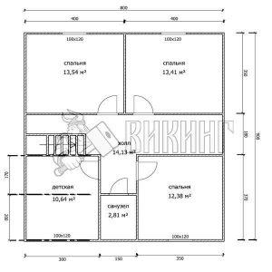 Деревянный дом 8x9 Альфа-22 (План 2-го этажа)