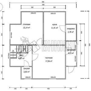 Деревянный дом 8x9 Альфа-23 (План 1-го этажа)