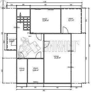Деревянный дом 8x9 Альфа-24 (План 1-го этажа)