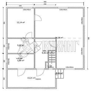 Деревянный дом 8x9 Альфа-35 (План 1-го этажа)