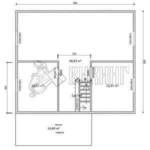 Деревянный дом 8x9 Альфа-35 (План 2-го этажа)