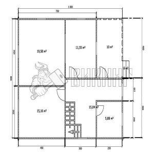 Деревянный дом 8x10 Альфа-26 (План 1-го этажа)