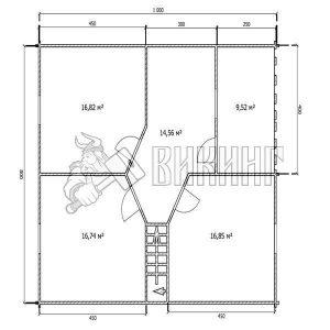 Деревянный дом 8x10 Альфа-26 (План 2-го этажа)