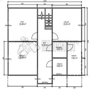 Деревянный дом 8x10 Альфа-27 (План 1-го этажа)